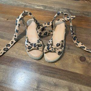 Leopard espadrilles wrap sandals